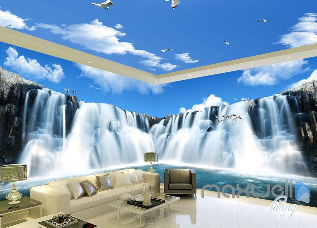 3D Large Waterfall Blue Sky Ceiling Entire Room Wallpaper