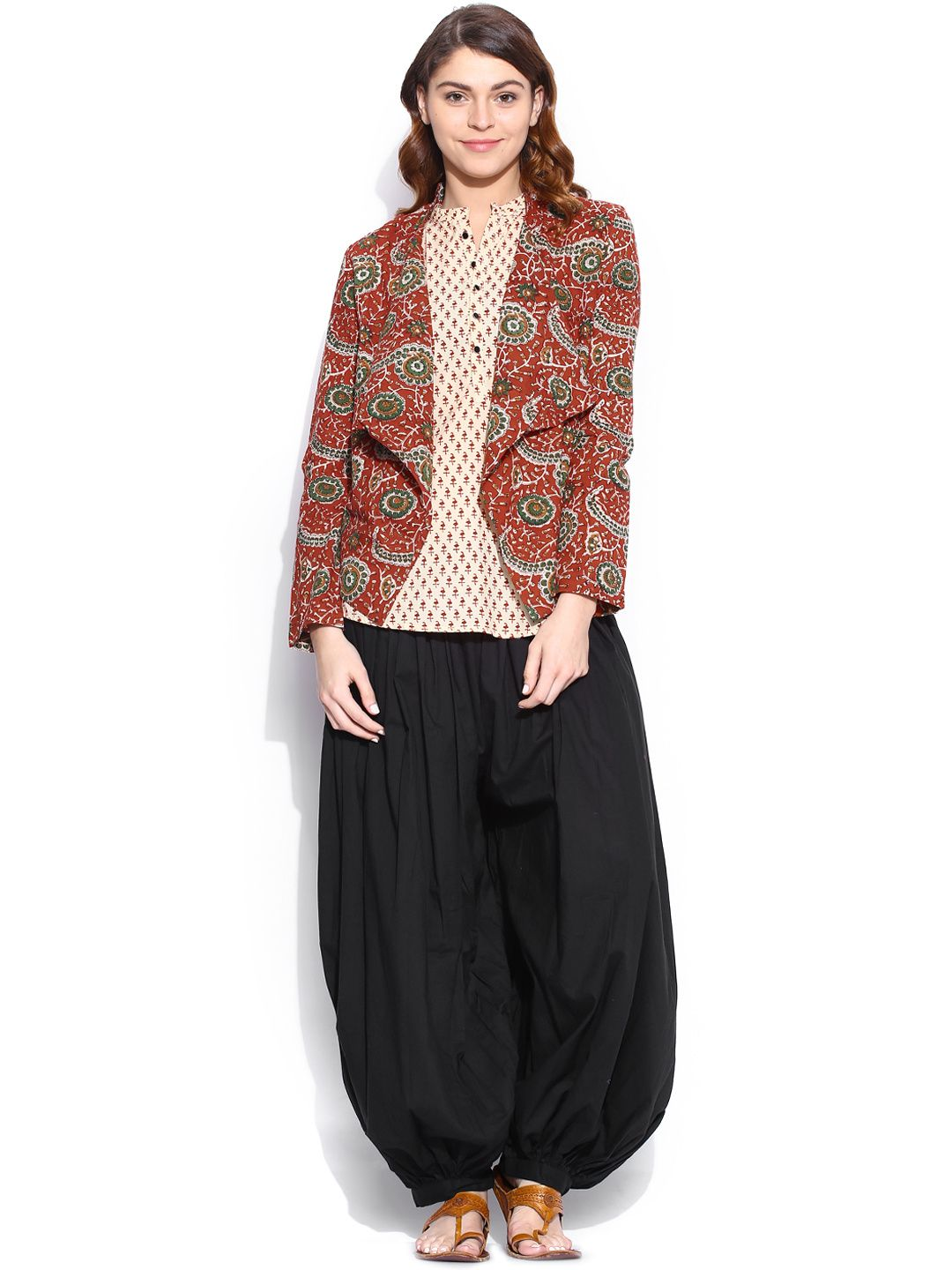 Buy Folklore Maroon & Black Printed Kurti With Jacket & Harem Pants - -  Apparel for Women
