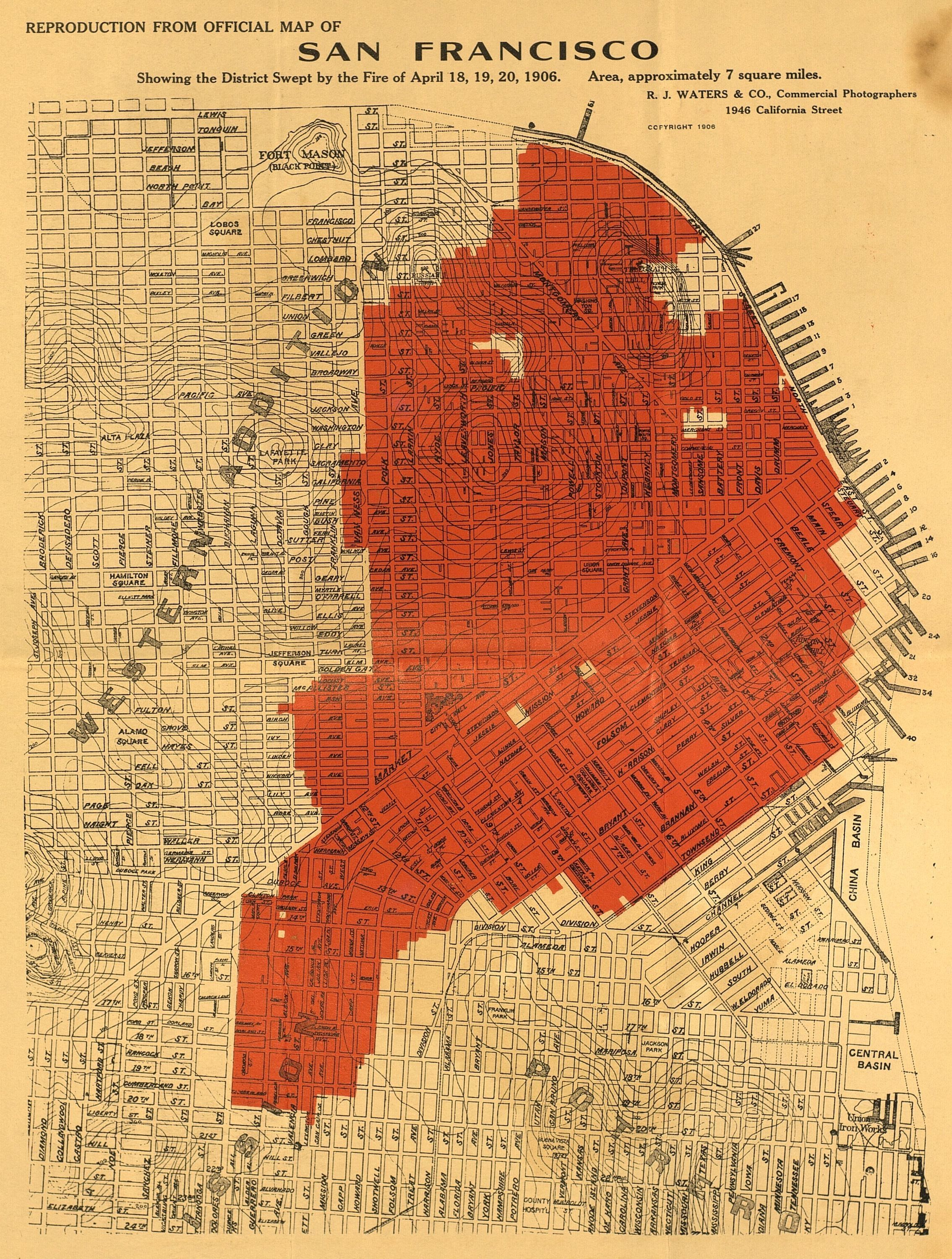 7 Square Miles Devastated By The Fire Of 1906 After The Earthquake