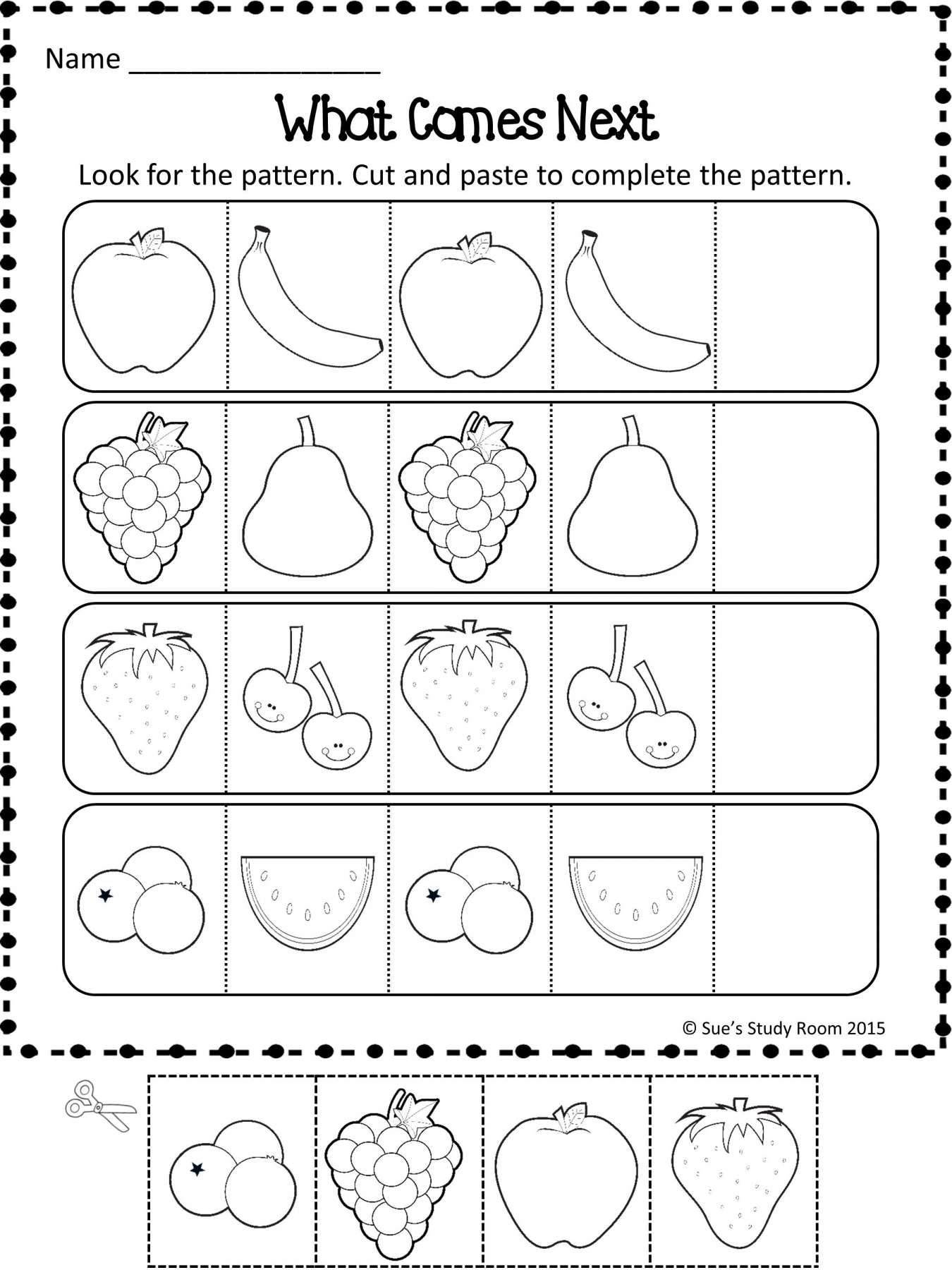 Back To School Patterns Worksheet Preschool And Patterns