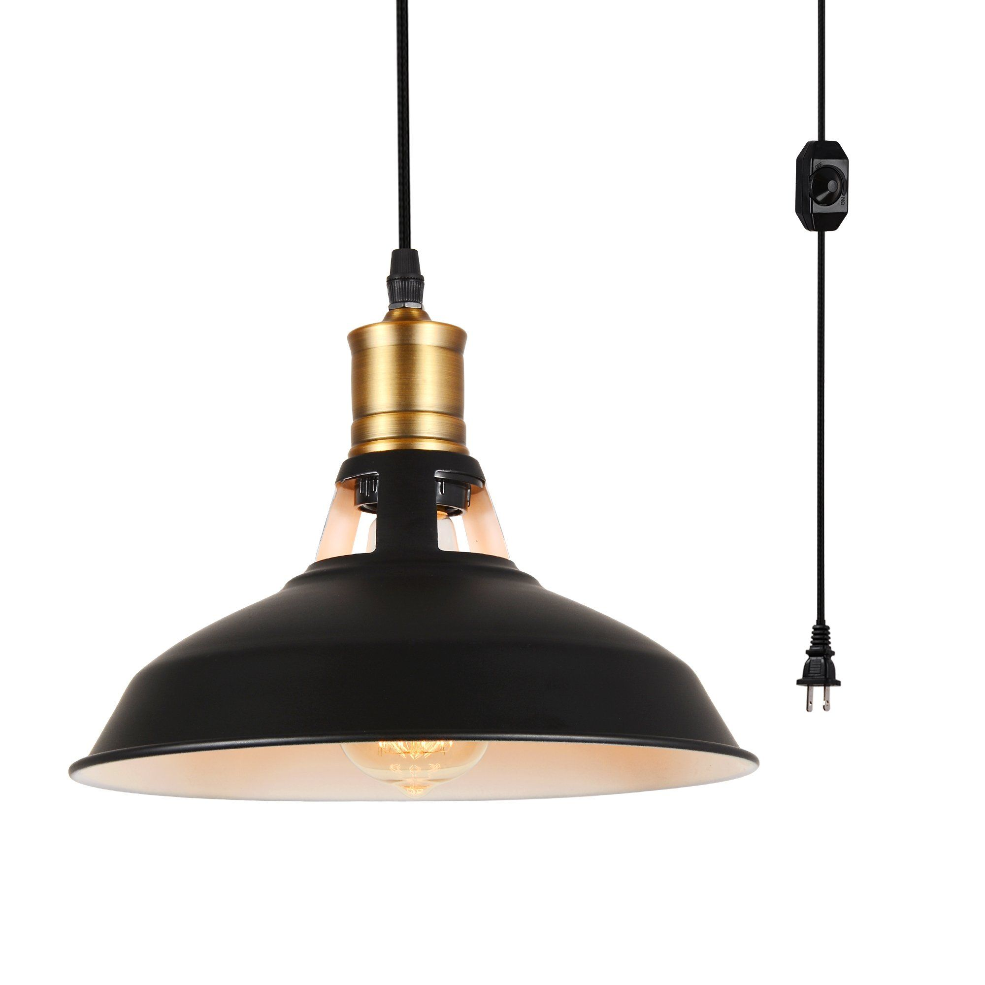 Hmvpl Industrial Plug In Pendant Lighting Fixtures With Long Hanging Cord And Dimmer Switch Vintage In 2020 Pendant Light Fixtures Pendant Lighting Hanging Chandelier