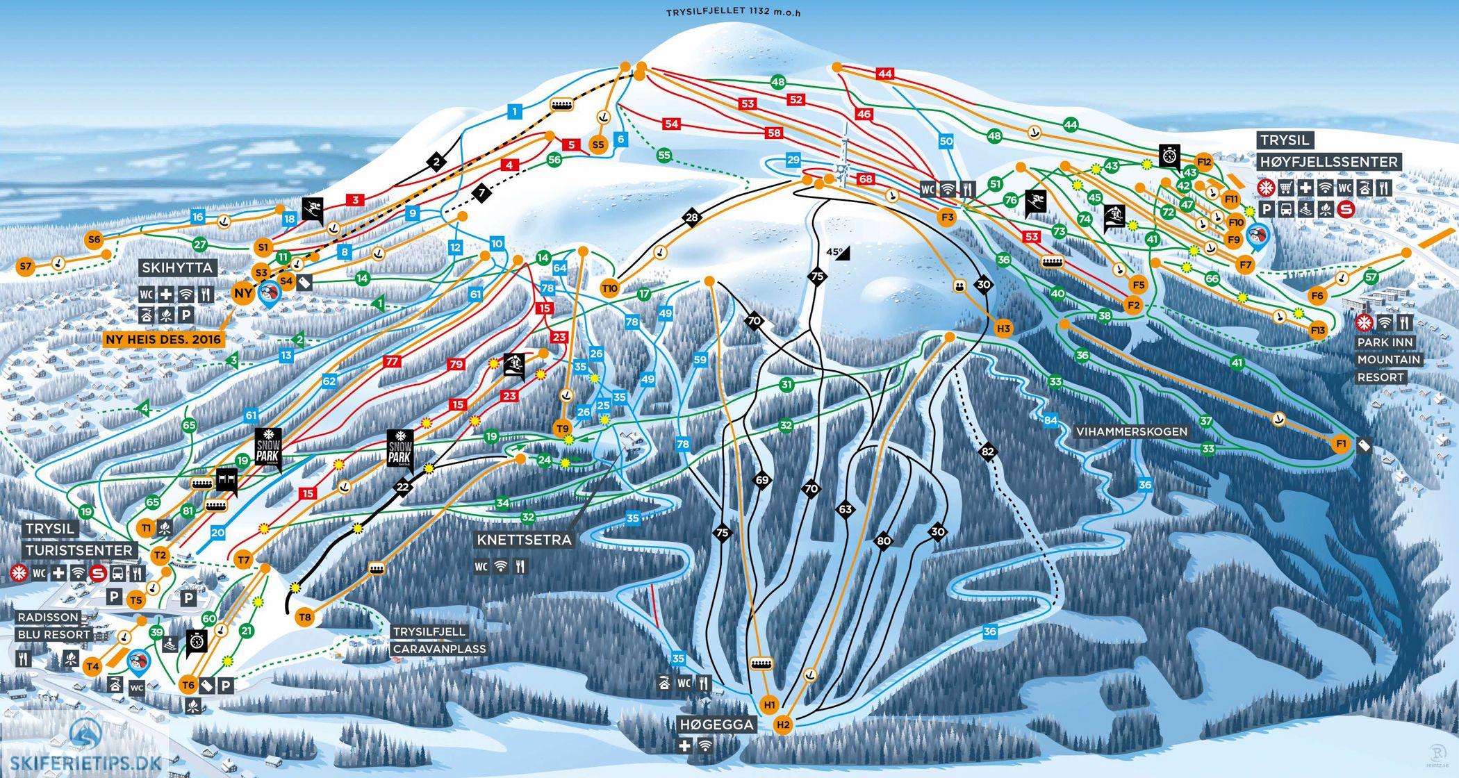 Pistekort Trysil Jpg 2 100 1 120 Pixels Skidakning Vinter Skida