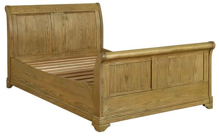 Best French Regal Oak 5Ft King Size Sleigh Bed Oak Bedroom 400 x 300