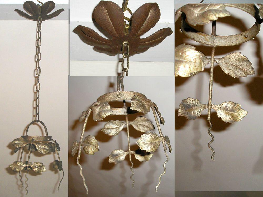 ancien plafonnier suspension lustre art d co fer forg pour globe ou tulipes in art antiquit s. Black Bedroom Furniture Sets. Home Design Ideas