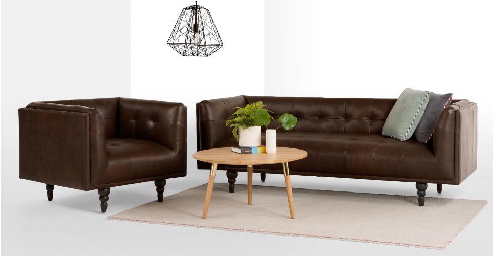 Connor 3-Sitzer Sofa, Vintage-Premium-Leder in Braun Vintage - wohnzimmer in weiss braun