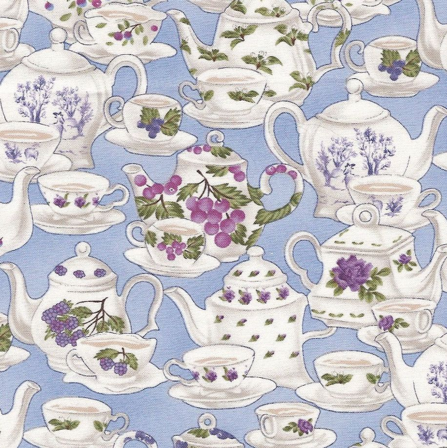 Blank Quilting Tea Party Teapots And Teacups On Blue