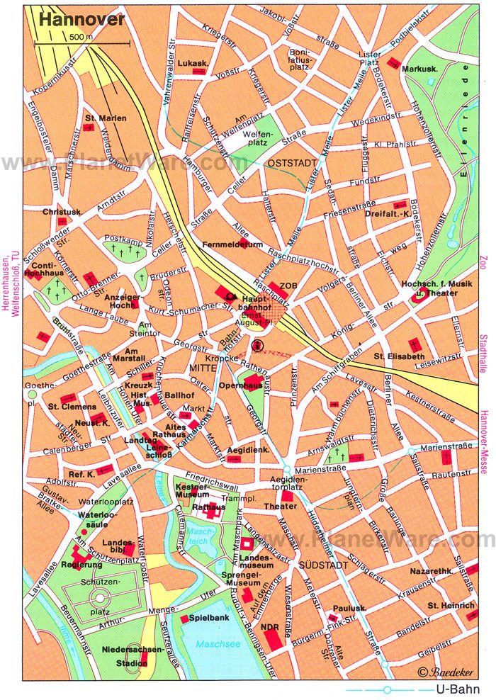 Hannover Map Tourist Attractions