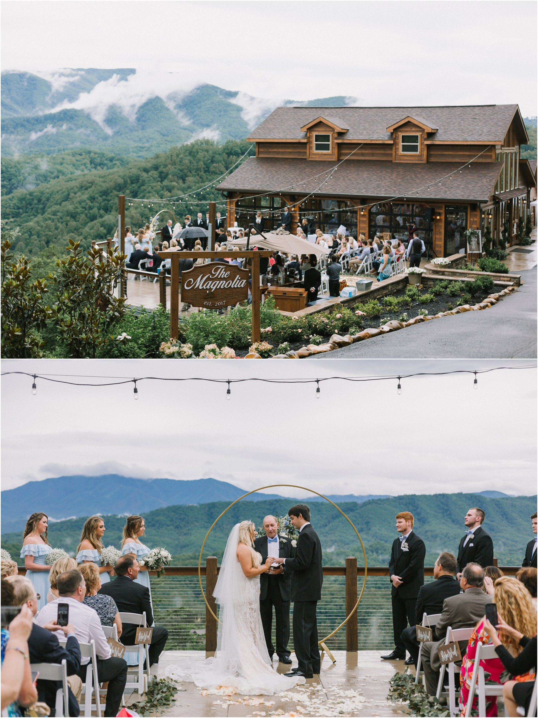 A Wedding At The Magnolia Venue In The Smokies With Views Of The Great Smoky Mountains I Mountain View Weddings Smoky Mountain Wedding Tennessee Wedding Venues