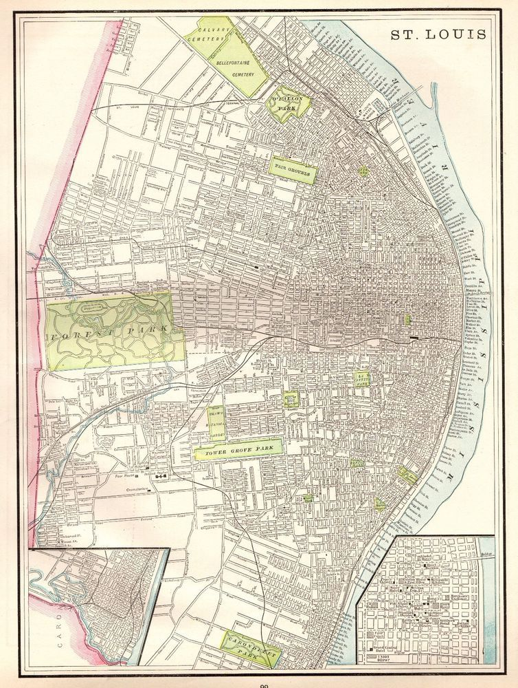 1892 Antique Map of St Louis Missouri Map Original Map Gallery Wall ...