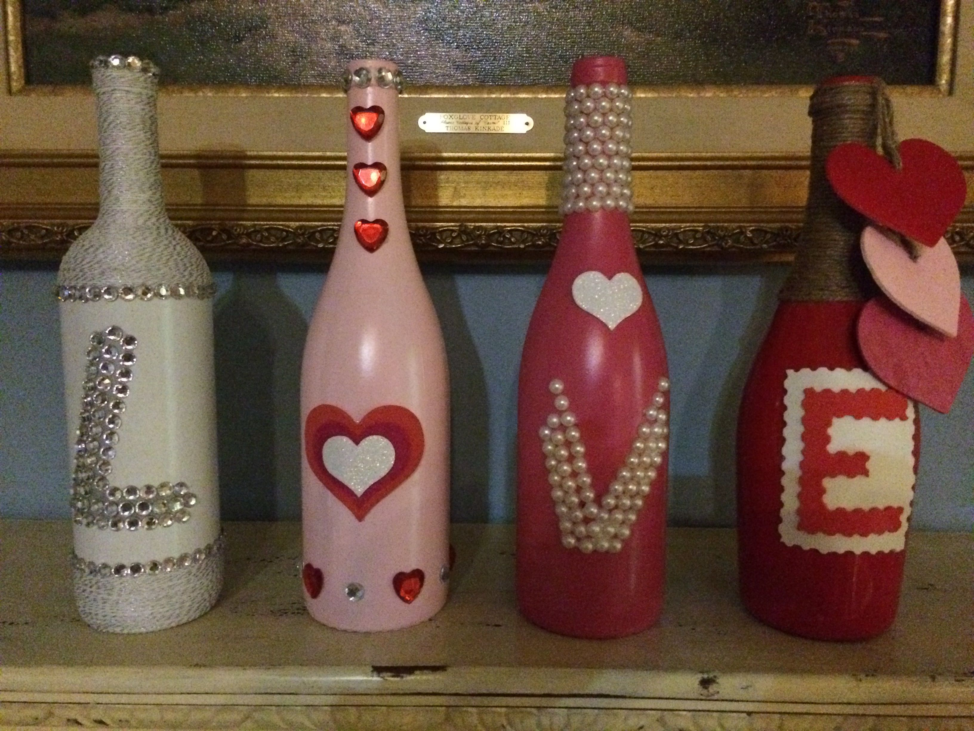 Valentine Day Love Painted Bottle Crafts Bottles Decoration Wine Bottle Art Painted Bottle