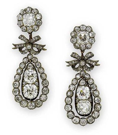 A pair of old mine diamond set in silver on gold pendeloque earrings, circa 1810