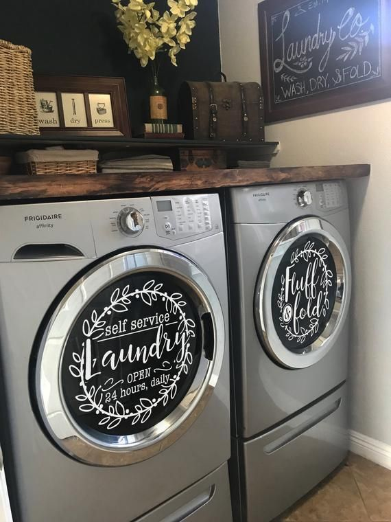 Photo of Laundry room decor self service laundry fluff and fold vinyl decal set, 13″ washer | dryer | vinyl.