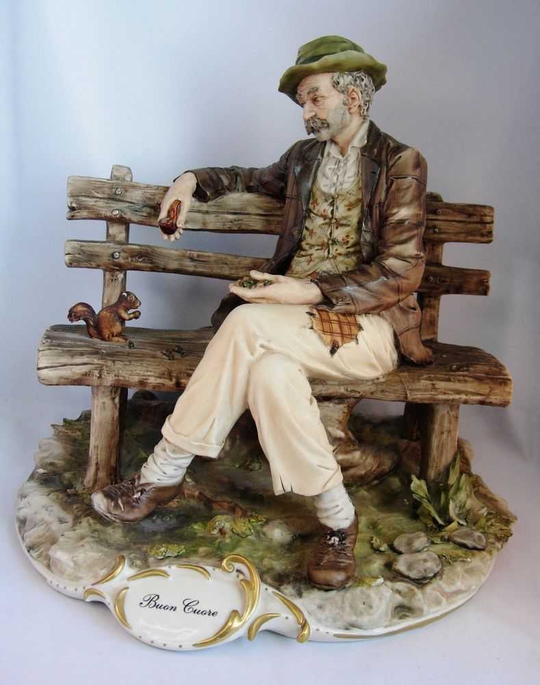 """Large Capodimonte Tramp on Bench Feeding Squirrel """"Buon Cuore"""" by"""