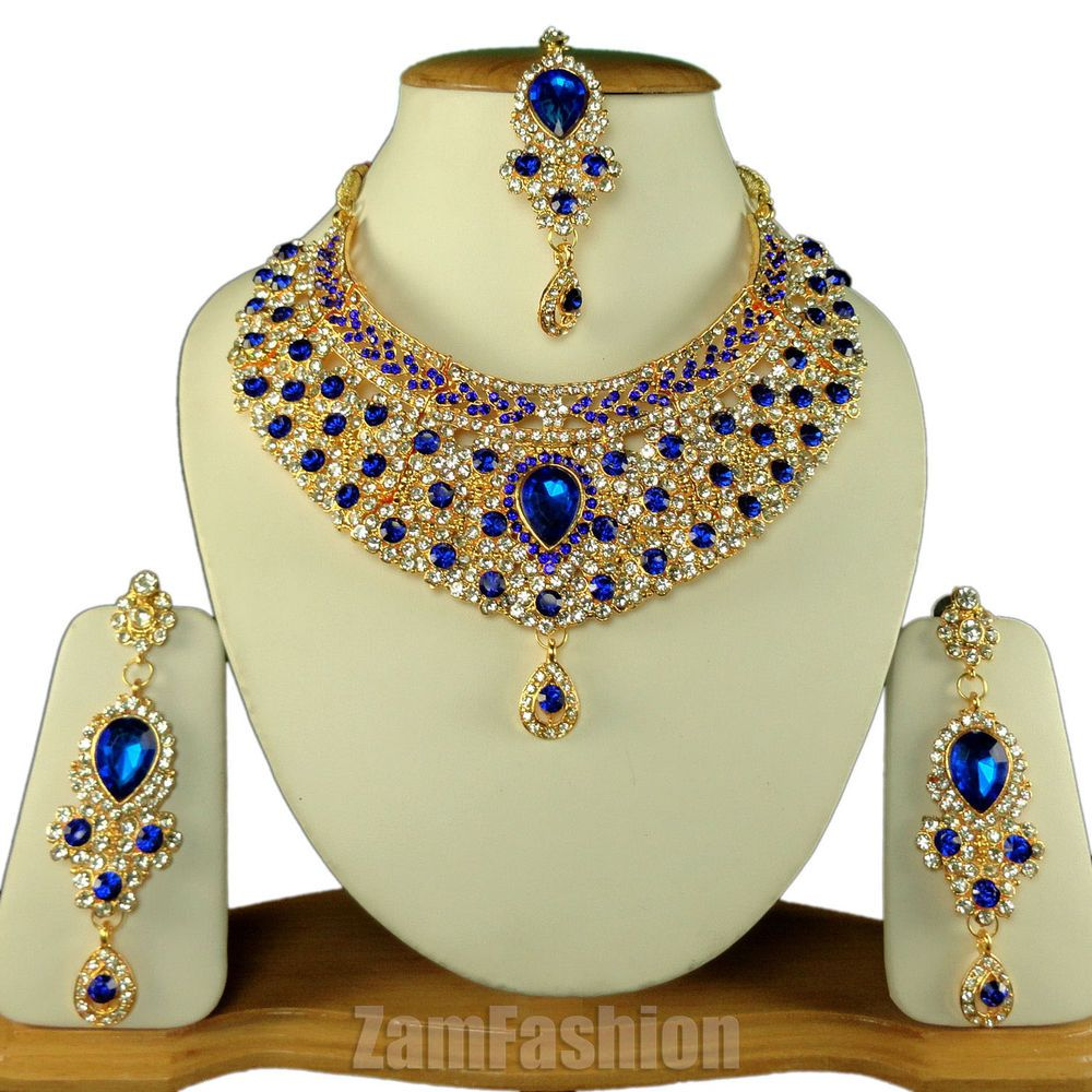 Indian Wedding Party Jewellery Necklace Earrings Maangtikka Set Blue