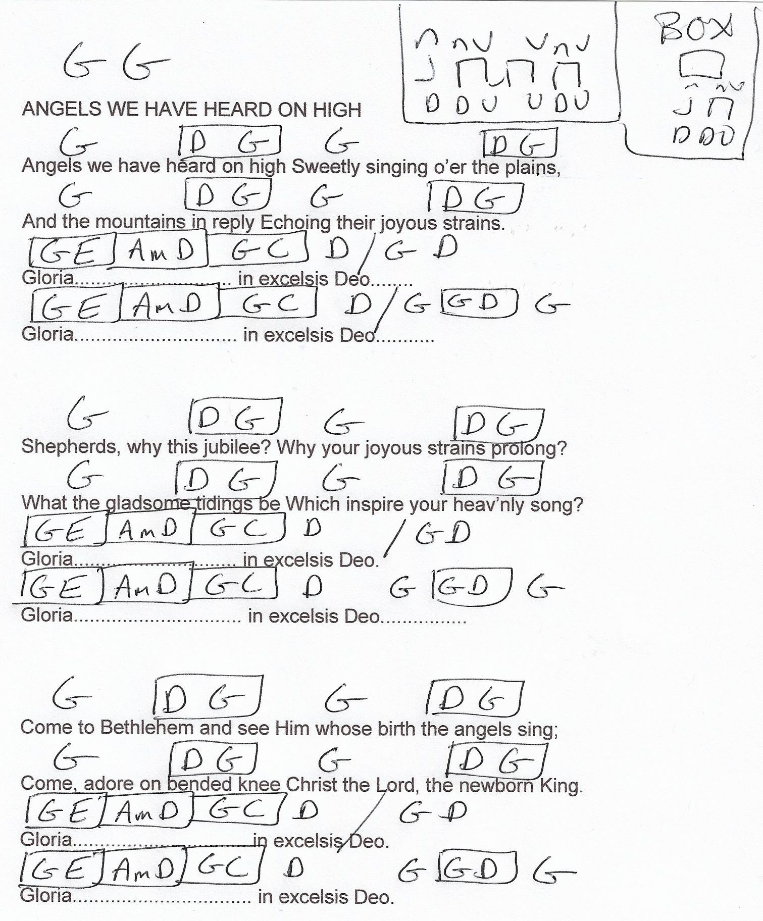 Angels We Have Heard On High Christmasg Major Guitar Chord Chart