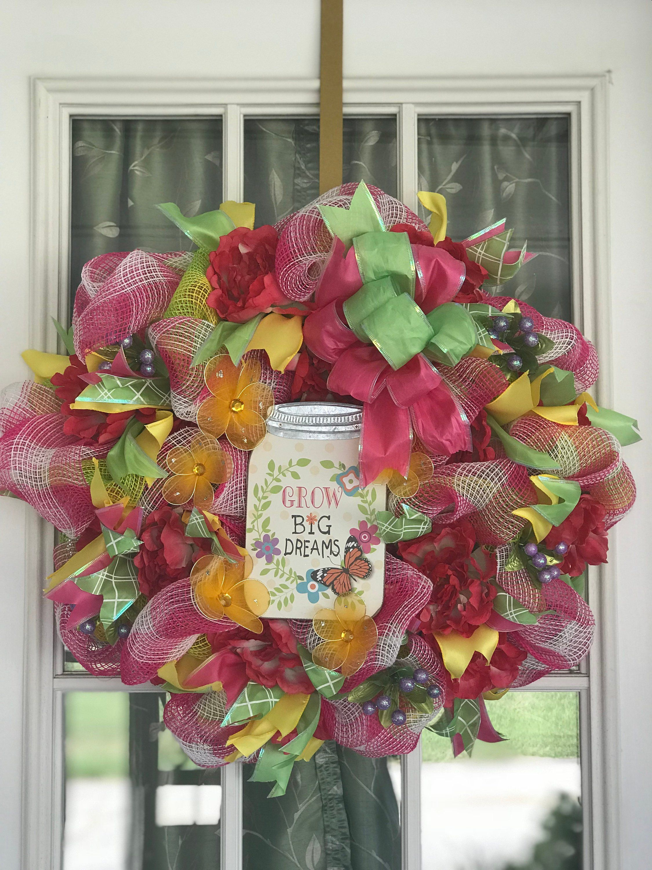 """22"""" Pink & White Plaid Deco Mesh Wreath w Yellow and Pink Flowers"""