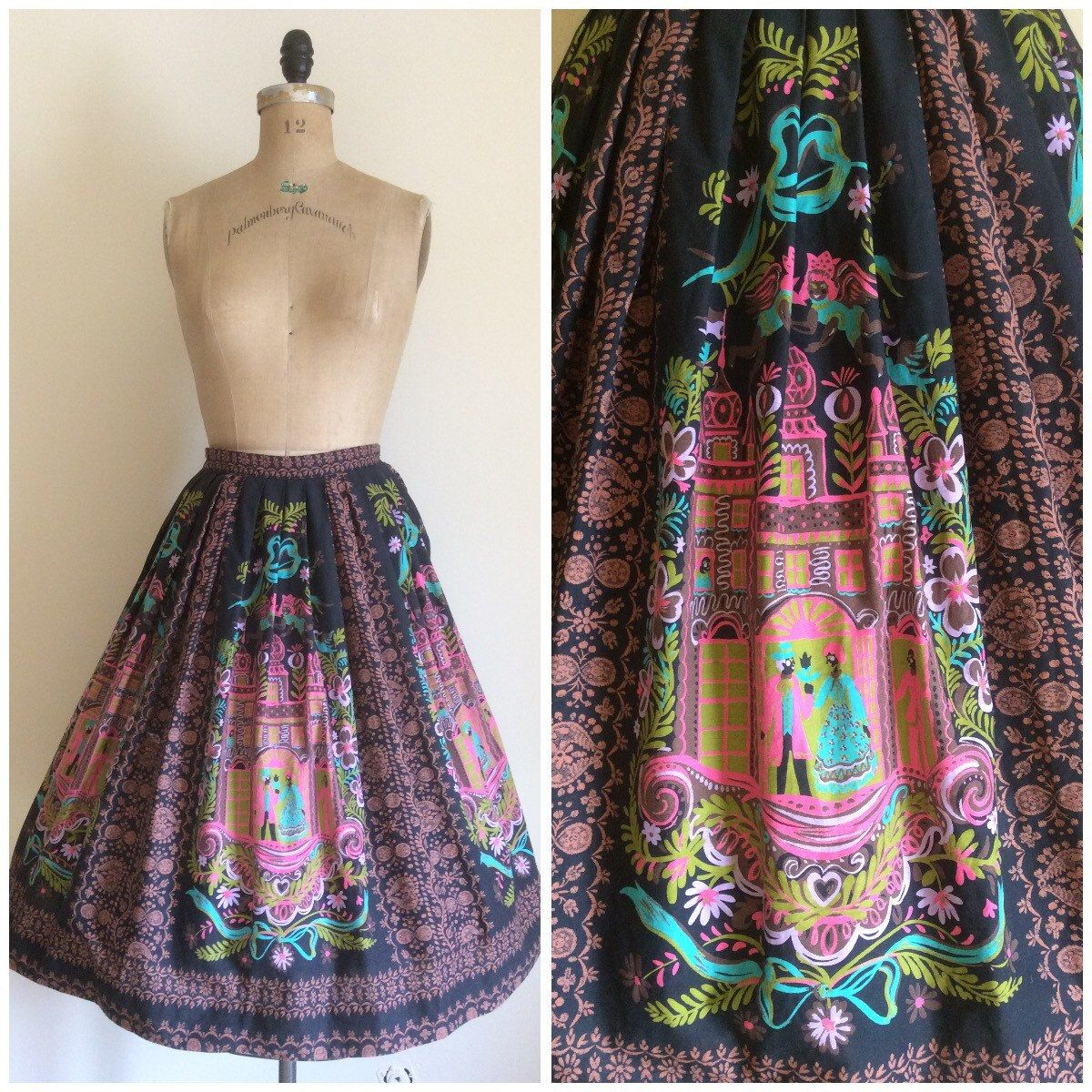 1950s Ornate Baroque Novelty Print Skirt by CreatedAndCollected