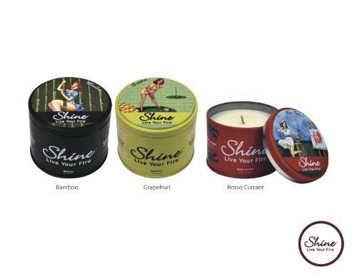 Shine Candles Premium Soy Scented Candles Summer Breeze Trio Bamboo, Grapefruit, RossoCurrant (6.2 oz. each) by Shine Candles. $44.95. Refreshing ,empowering summer scents. Finest Soy Coconut Plum blend crafted to ultimetly emit the 12% essence, born of the highest quality fragrance available. Custom collectible tin, delightfuly designed in retro motif. Earth friendly ,responsibly made and packaged in the USA. Long lasting burn time of 40 hours. Celebrate the ...
