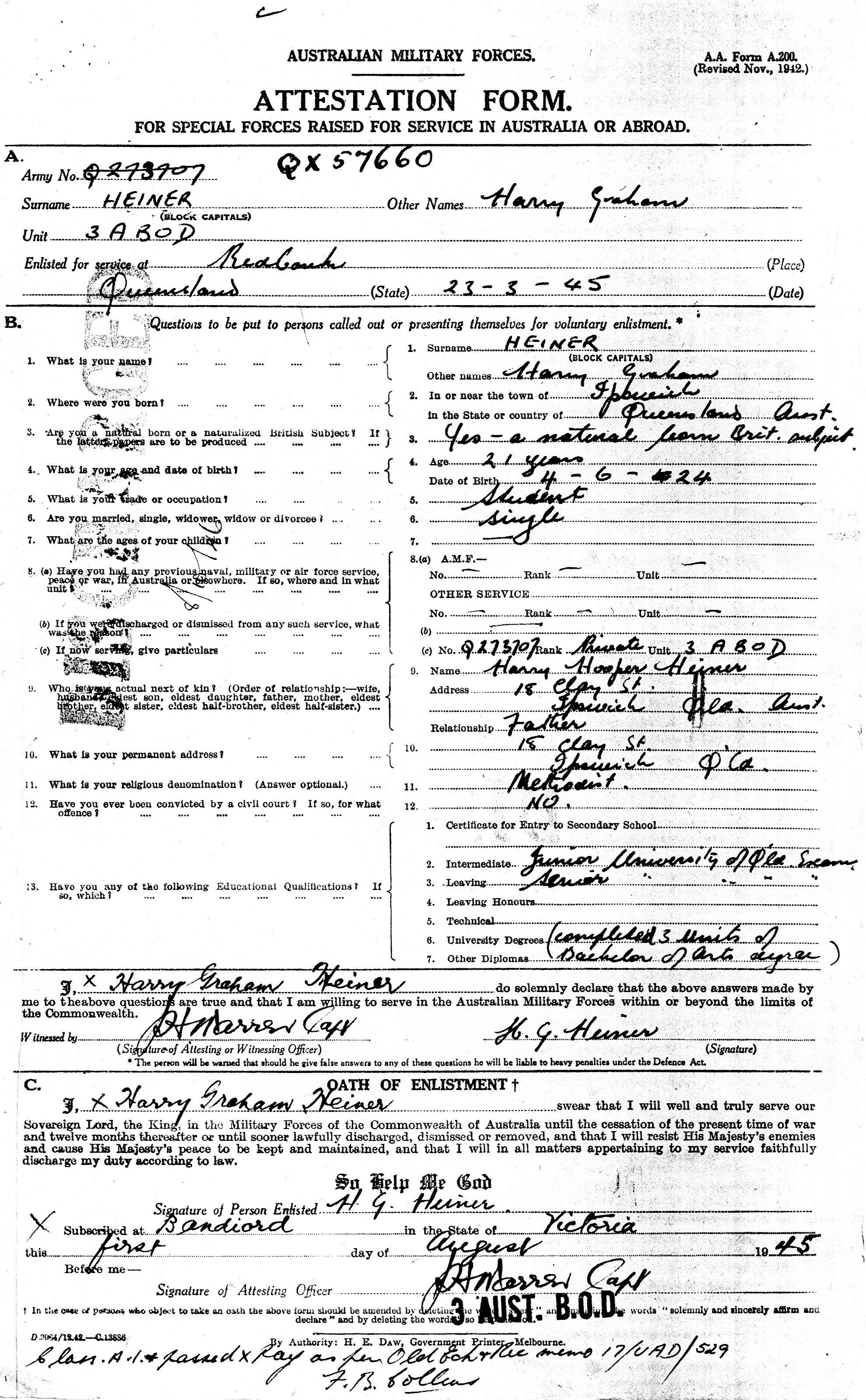 Ww Military Attestation Form For Harry Graham Heiner  History
