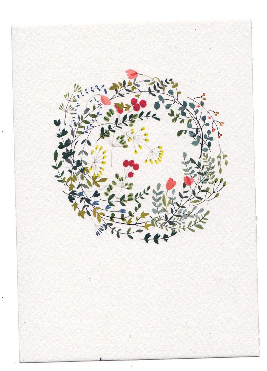 Spring Wreath Art Design Floral Illustrations