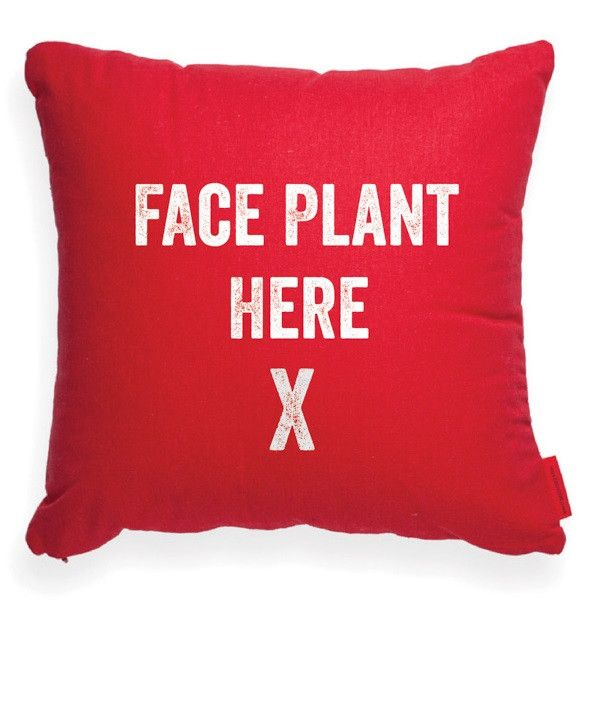 Face Plant Here Red Decorative Pillow Trucs Pillows Cute