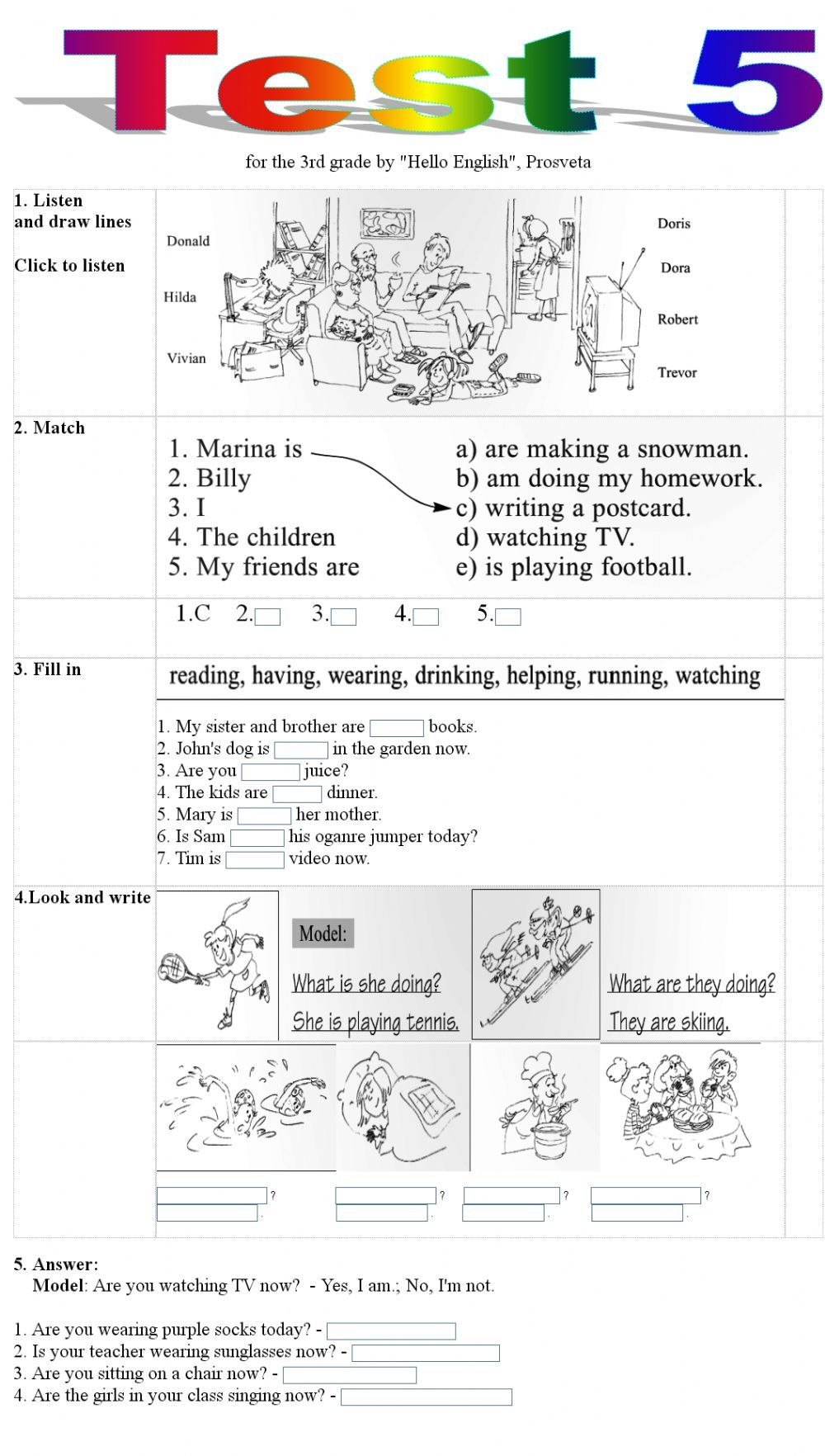 Present continuous interactive and downloadable worksheet
