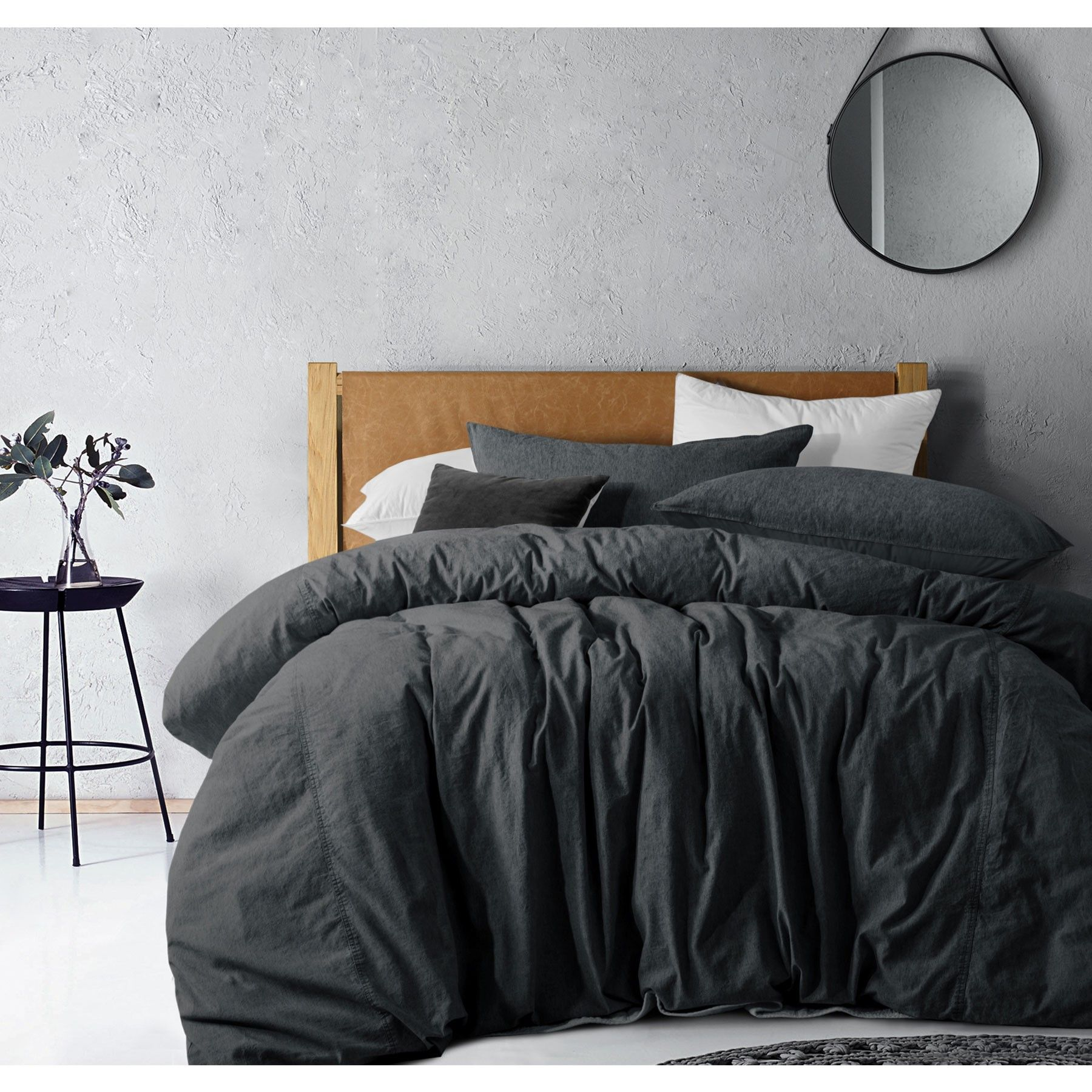 Overdyed Denim Linen Cotton Quilt Cover Set Dark Grey Also Known As Black By Accessorize Quilt Cover Sets Cotton Quilt Covers Quilt Cover