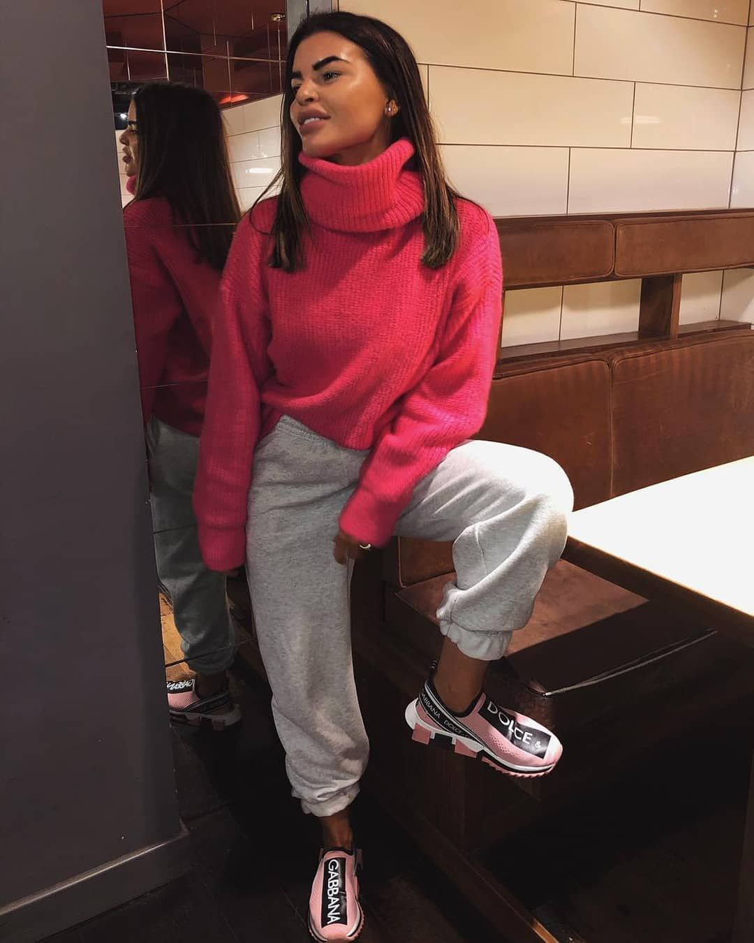 """6b9b2b9961d Missy Empire on Instagram: """"Think of me 💖 🔍 Search: Tamarah Neon Pink  Roll Neck Oversized Knit Jumper (£40) & Rebecca Grey Casual Joggers (£20)  💕 Tag ..."""