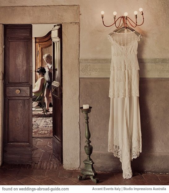 "Fiona wore ""Kristene"" by Claire Pettibone for her wedding in Tuscany 