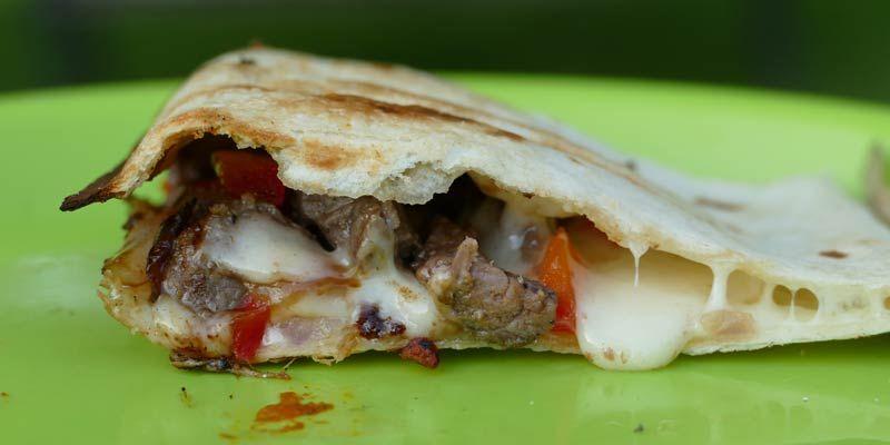 Pie Iron Recipes: Philly Cheese Steak Quesadilla | Pie ...