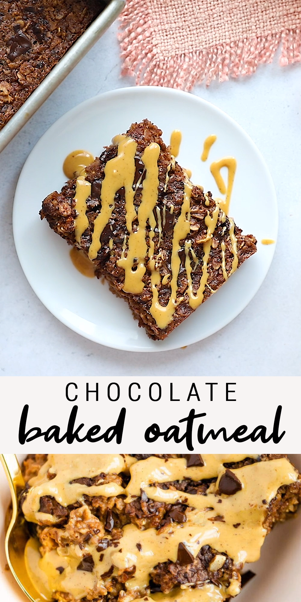 Healthy Chocolate Peanut Butter Baked Oatmeal | Vegan + Gluten-Free