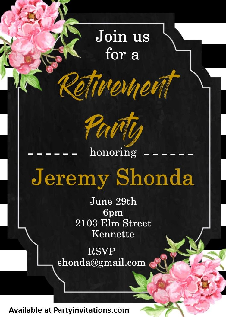 Peonies and striped Retirement Party Invitations | retirement ...