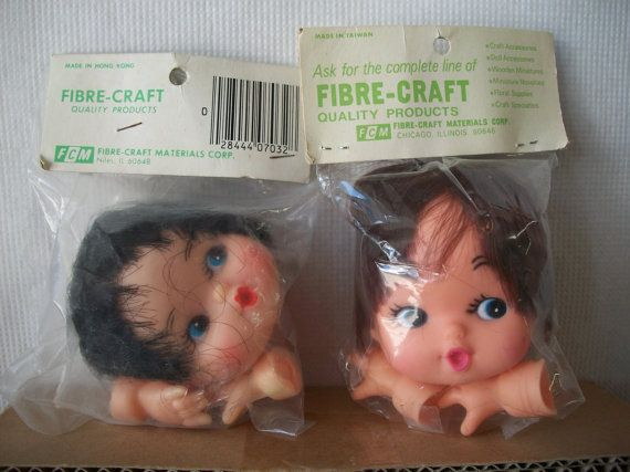 Vintage Fibre Craft Plastic Vinyl Baby Doll Head And By Mooglamom Doll Head Crafts Dolls