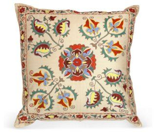 Suzani Pillow w/ Geometric Motifs