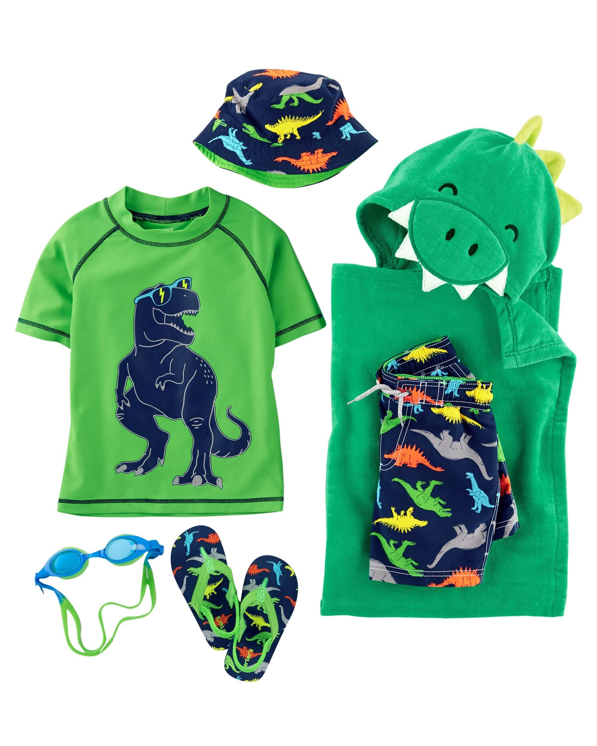 33f10fa04 He's beach-ready in this dinosaur rashguard and matching bottoms ...