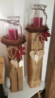 Kerzenständer Windlicht Holz Kerze Holzbalken Dekoration Herbst #weihnachtsdekoglas