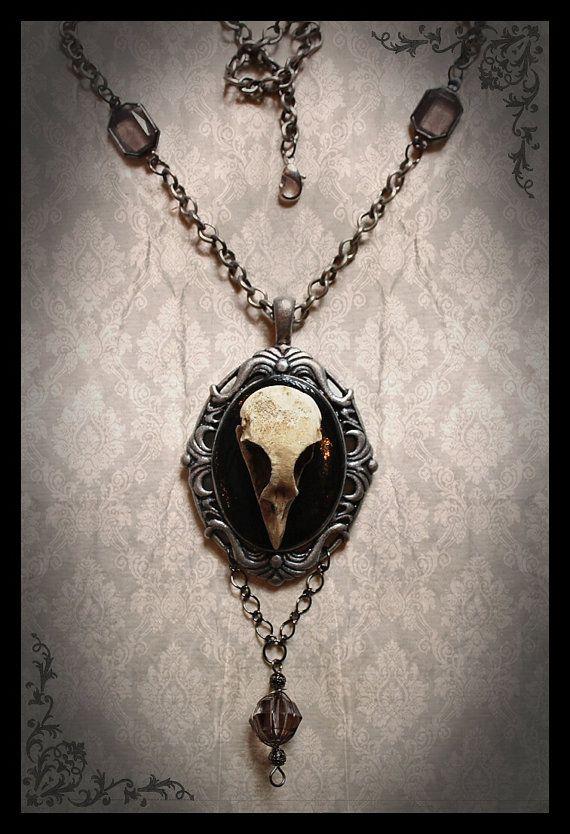 Gothic Victorian Cameo Dove Skull Pendant Beaded Jewelry Necklace