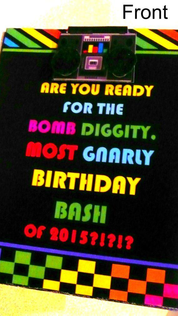 80s theme party invite pop up 80s invitation 80s card retro
