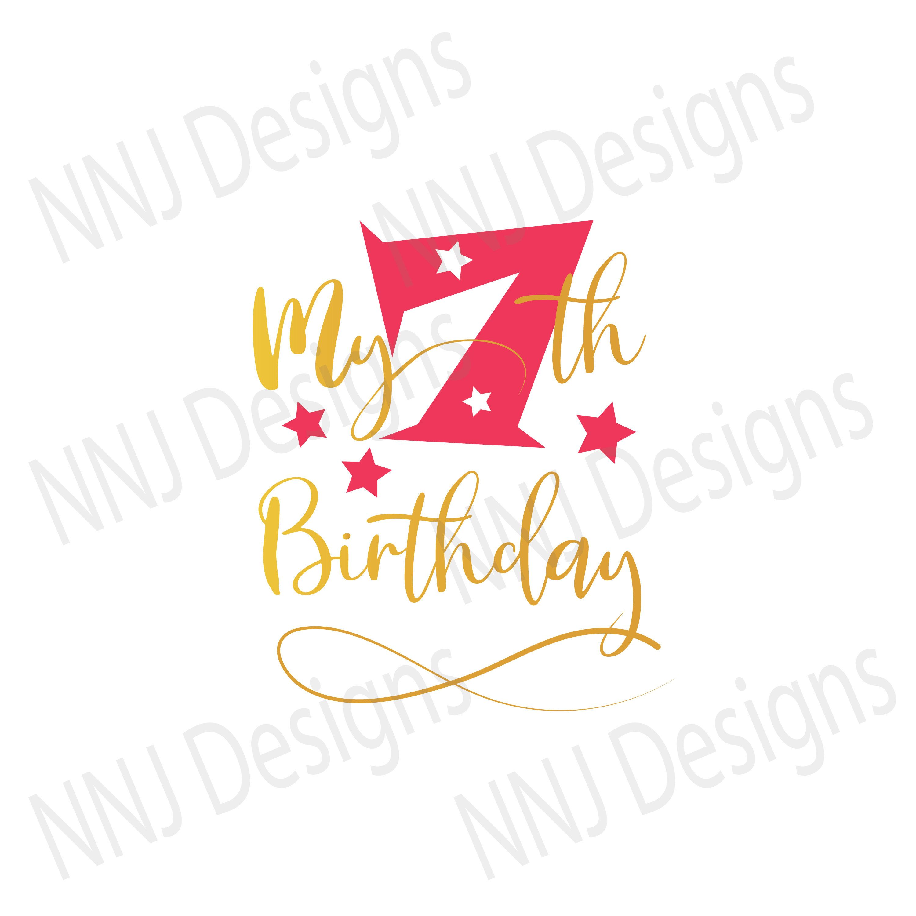 Download My 7th Seventh Birthday SVG Seven Year Old Party Boy Girl ...