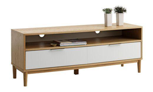 Efterstræbte TV-bord RISSKOV 2 skuffer eg/hvid   JYSK   TV Cabinet   Skuffer VI-55