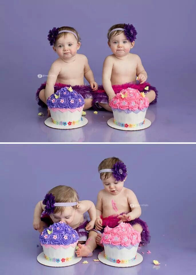 Cute Twin Cake Smash Girls First Birthday Cake Twin First