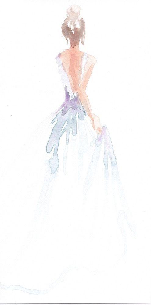#midnightdoodles - Blue 1   ART   Art, Watercolor art, Watercolor dress