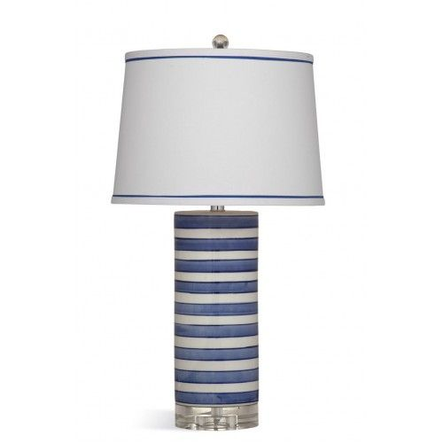 Blue White Stripe Ceramic Cylinder Table Lamp Table Lamp Striped Table Lamp Blue and white table lamp