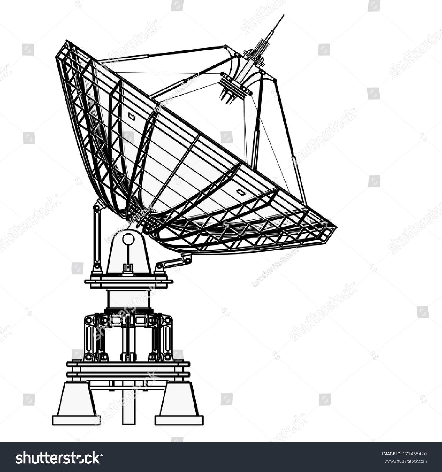 Http Image Shutterstock Com Z Stock Photo Satellite Dishes Antenna Doppler Radar Cartoon Illustration Outline High Resolution D 1774 Antenas Radar Astrologia
