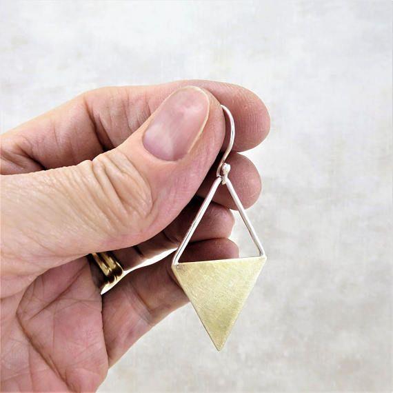 Brass Earrings Geometric Earrings Silver Earrings Dangle
