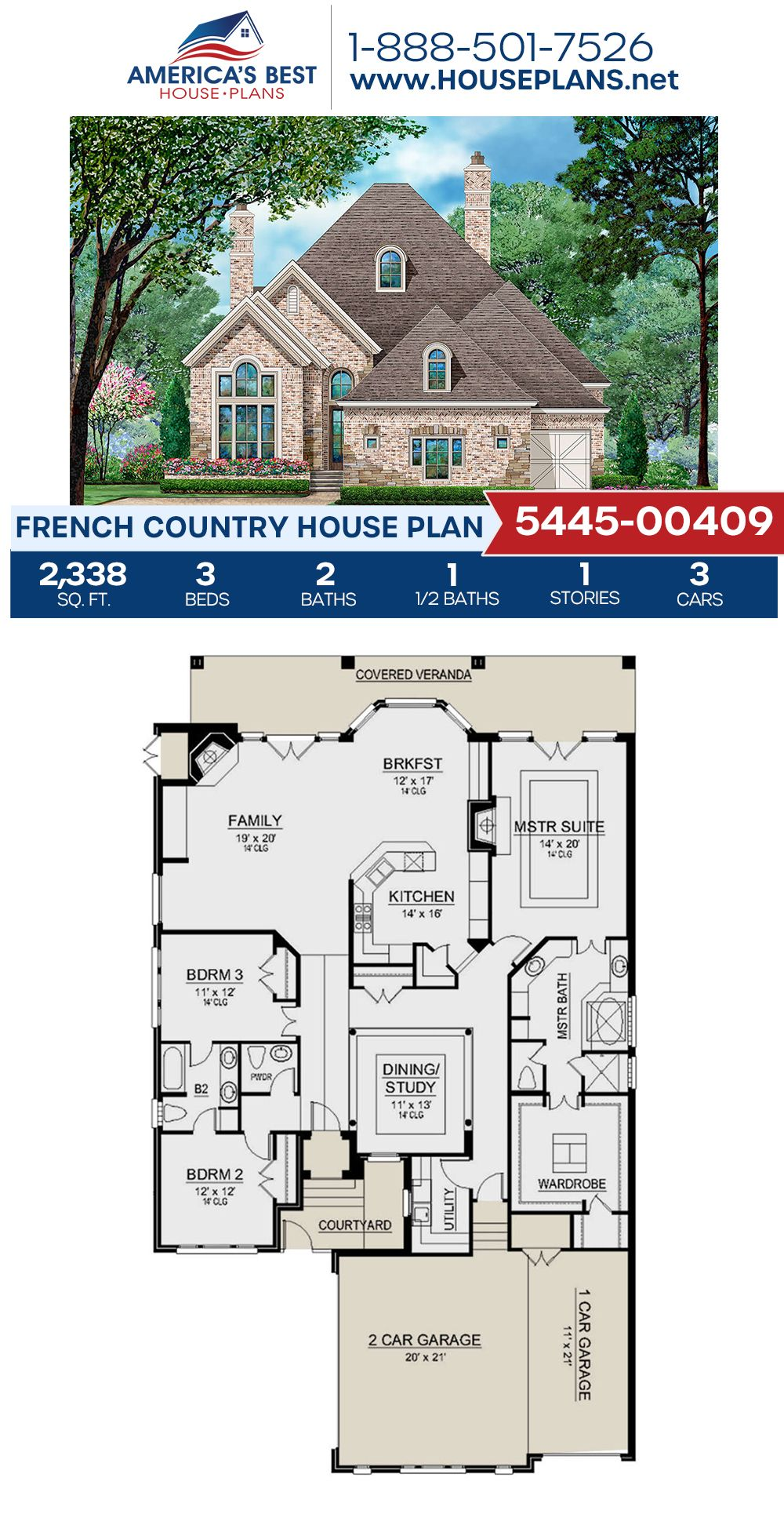House Plan 5445 00409 French Country Plan 2 338 Square Feet 3 Bedrooms 2 5 Bathrooms French Country House Plans Porch House Plans French Country House