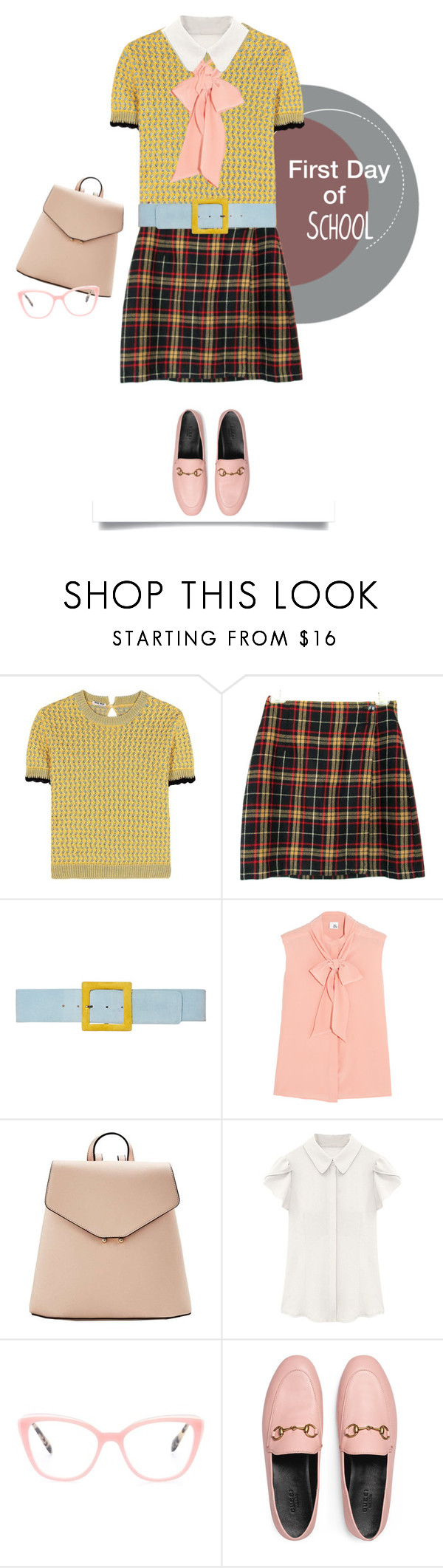 """""""Campus Chic: First Day of School"""" by pattykake ❤ liked on Polyvore featuring Miu Miu, Johanna Ortiz, Iris & Ink, MANGO, Gucci, BackToSchool, bts, firstdatofschool and campuschic"""