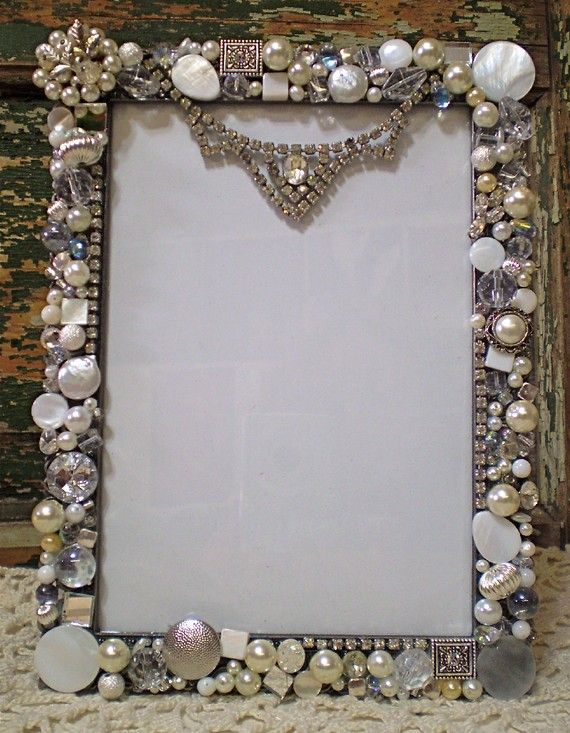 Mosaic Large Shabby Jeweled Picture Frame - Loads of Vintage ...