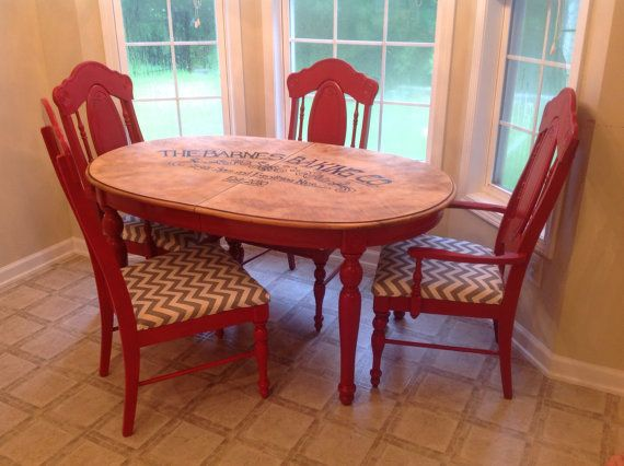 Red Rustic Kitchen Table With Chevron Seated Chairs By Kdiddles 350 00 Rustic Kitchen Rustic Kitchen Tables