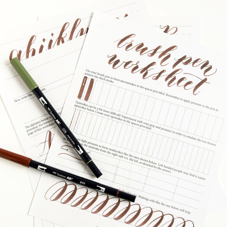 Free basic brush pen calligraphy worksheet more